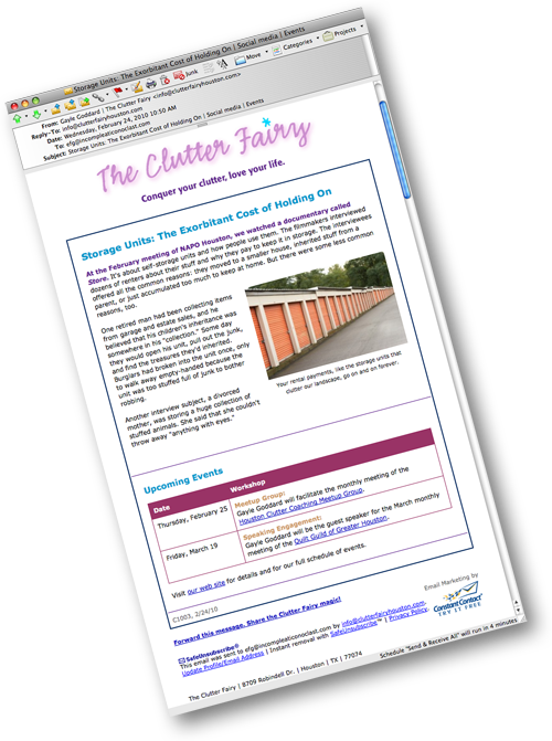 The Clutter Fairy Newsletter