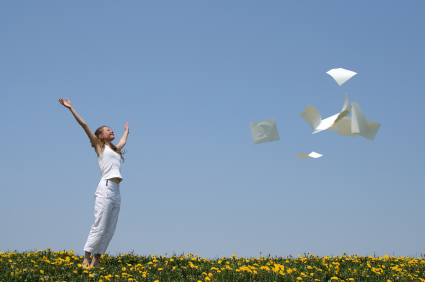 Woman tossing papers