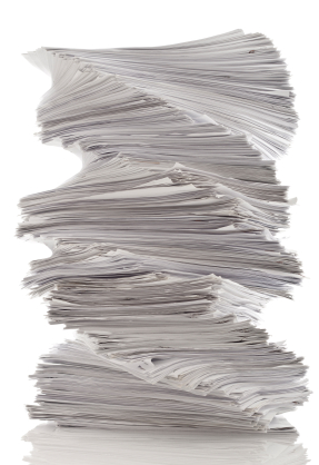 Twirled paper pile