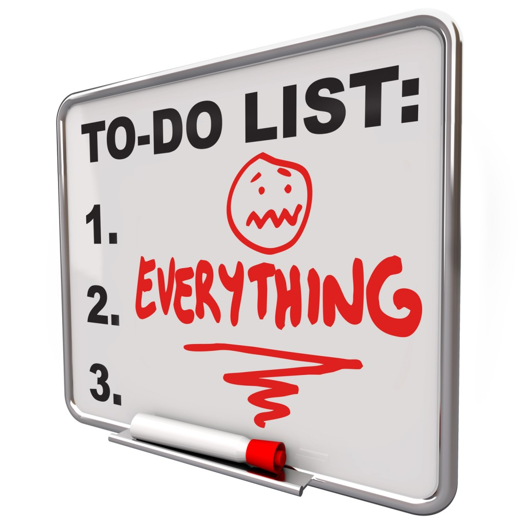 "Dry-erase board to-do list with ""everything"""