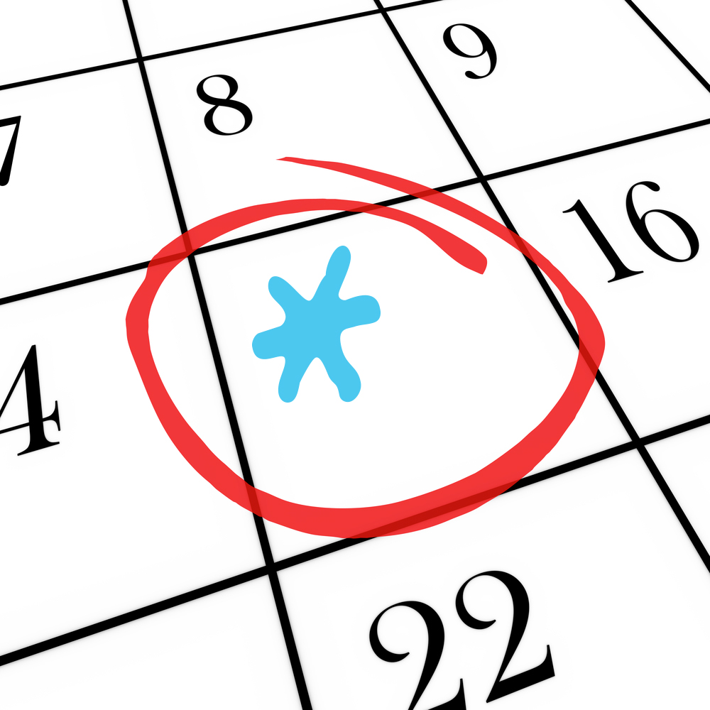 Calendar date circled with Clutter Fairy asterisk